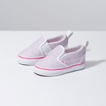 Vans Toddler Glitter Stars Slip-on V (true White/carmine Rose)