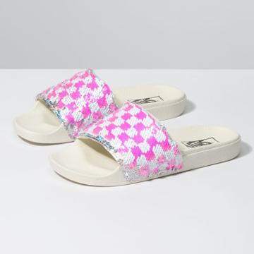 Vans Womens Flipping Sequins Slide-on (checkerboard/silver)