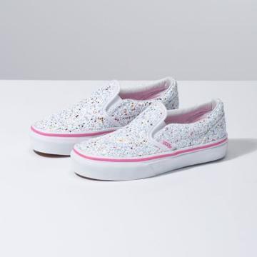 Vans Kids Glitter Stars Slip-on (true White/carmine Rose)