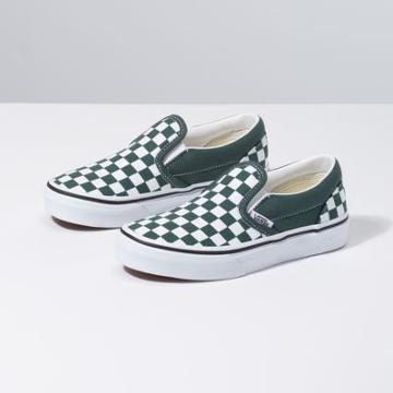 Vans Kids Checkerboard Slip-on (trekking Green/true White)