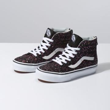 Vans Kids Glitter Stars Sk8-hi Zip (black/true White)