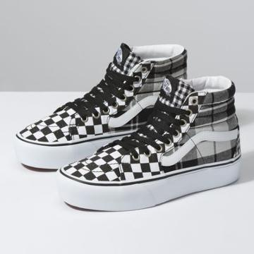 Vans Plaid Checkerboard Sk8-hi Platform 2.0 (black/true White)