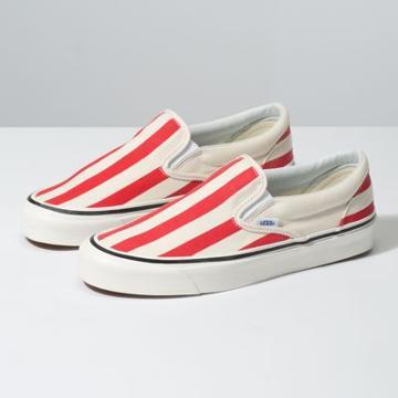 Vans Anaheim Factory Slip-on 98 Dx (og White/og Red/big Stripes)