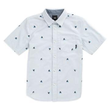 Vans Boys Houser Buttondown Shirt (baby Blue Jungle Ditsy)