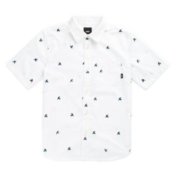Vans Boys Houser Buttondown Shirt (white Jungle Ditsy)