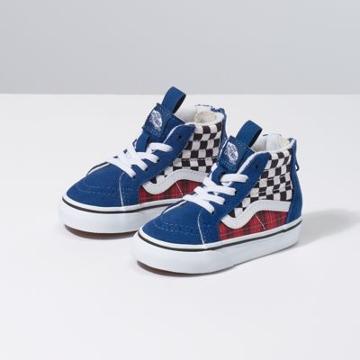 Vans Toddler Plaid Checkerboard Sk8-hi Zip (true Blue/racing Red)