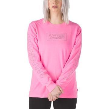 Vans After Dark Reflective Long Sleeve Boyfriend Tee (knockout Pink)