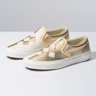 Vans Woven Leather Slip-on (brushed Gold/snow White)