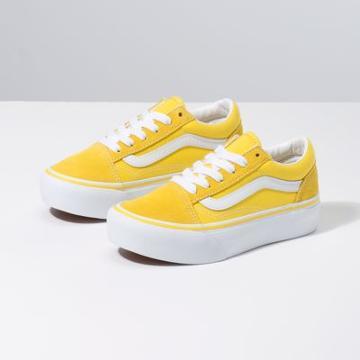 Vans Kids Old Skool Platform (vibrant Yellow/true White)