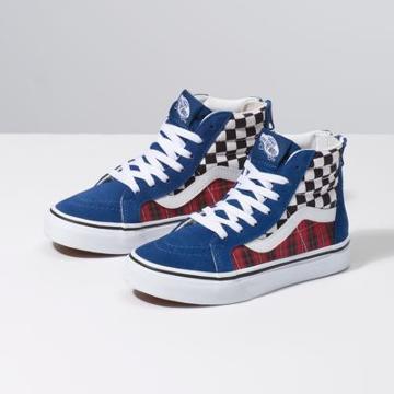 Vans Kids Plaid Checkerboard Sk8-hi Zip (true Blue/racing Red)