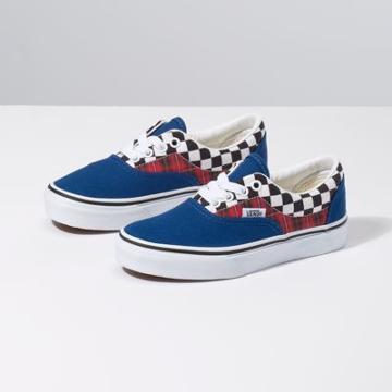 Vans Kids Plaid Checkerboard Era (true Blue/racing Red)