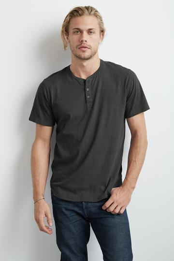 Velvet Men Fulton Short Sleeve Henley Tee-chambray-whisper