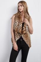 Velvet Clothing Dariela Faux Fur Leopard Vest-leopard-fauxfur