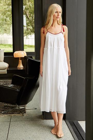 Velvet Clothing Poppy Embroidered Cotton Voile Tassel Tank Dress-white-kirstyhume