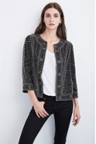 Velvet Clothing Magali Nailhead Embroidered Jacket-black-chfnhjckt
