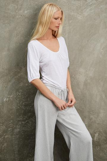 Velvet Clothing Tulip Linen Knit Scoop Neck Tee-white-kirstyhume