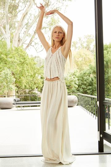 Velvet Clothing Camellia Cotton Gauze Maxi Skirt-coconut-kirstyhume