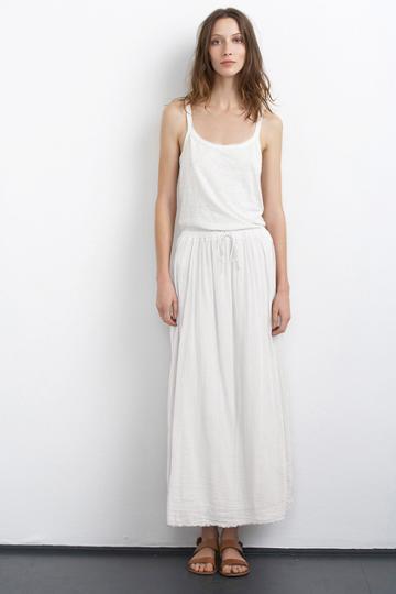Velvet Clothing Sabiya Cotton Gauze Maxi Skirt-white-cotgzeslub