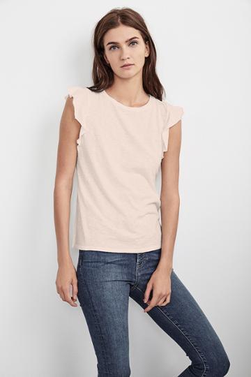 Velvet Clothing Marylou Cotton Slub Flutter Sleeve Tee-rosetta-cotslub