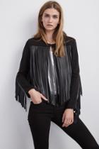 Velvet Clothing Tiffany Fringe Jacket-black-frenchterry