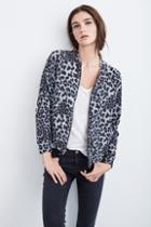 Velvet Clothing Sunni Leopard Fleece Bomber Jacket-multi-leofleece