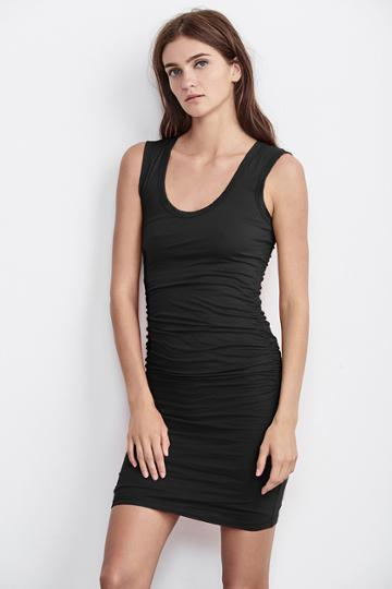 Velvet Clothing Varella Gauzy Whisper Ruched Tank Dress-black-gauzylux