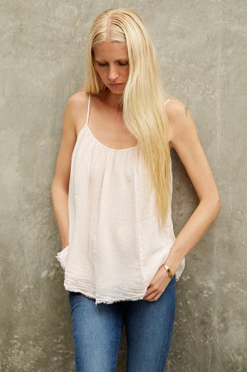 Velvet Clothing Daisy Cotton Gauze Tank-coconut-kirstyhume