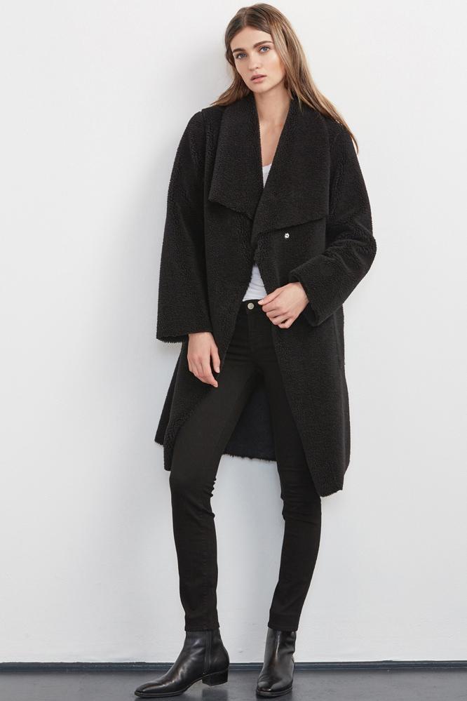 Velvet Clothing Tangy Reversible Sherpa Coat -black-fauxfur