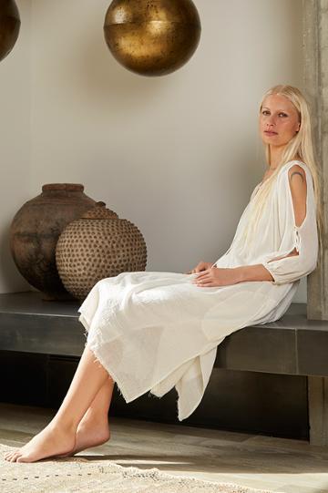 Velvet Clothing Rose Cotton Gauze Cold Shoulder Peasant Dress-coconut-kirstyhume