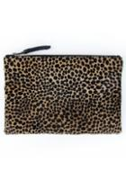 Velvet Clothing Oliva Cheetah Zip Clutch-cheetah-fauxfur