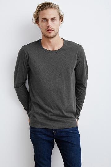 Velvet Men Olly Heather Jersey Long Sleeve Tee-chisel-hthjers