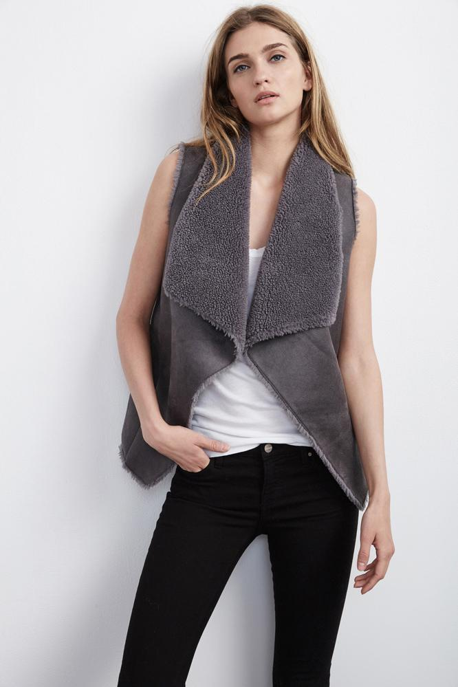 Velvet Clothing Analucia Faux Fur Vest -charcoal-fauxfur