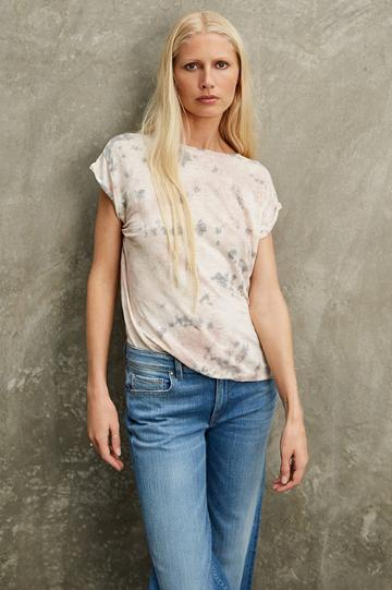 Velvet Clothing Orchid Linen Knit Boat Neck Tee-tiedye--kirstyhume