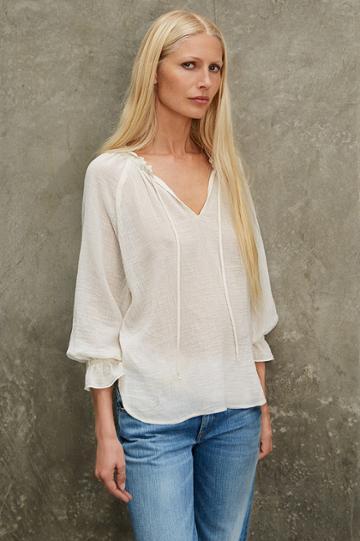 Velvet Clothing Sunflower Cotton Gauze Peasant Top-coconut-kirstyhume
