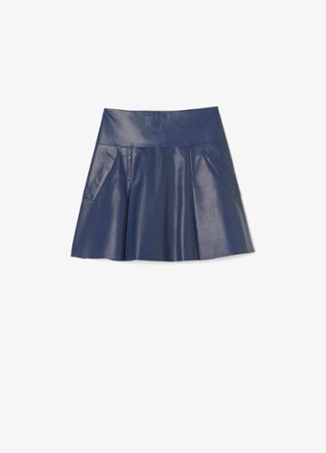 Vince Flare Leather Skirt With Drop Yoke