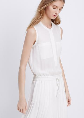 Vince Pleated Dress With Drawstring