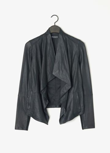 Vince Drape Front Feather Leather Jacket