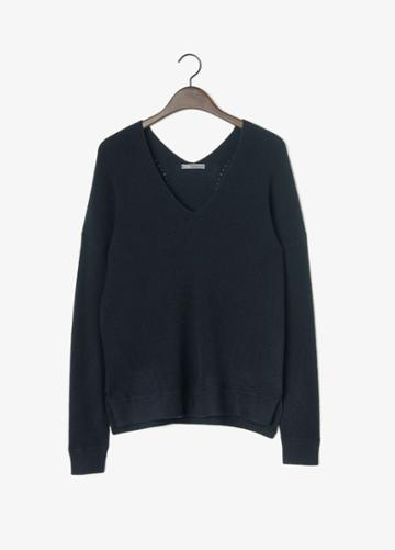 Vince Cashmere V-neck Rack Stitch Sweater