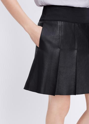 Vince Feather Leather Pleated Skirt