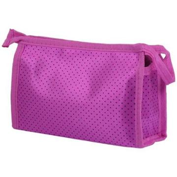 Unique Bargains Traveling Dots Toiletry Cosmetic Bag Makeup Case Pouch Fuchsia Black