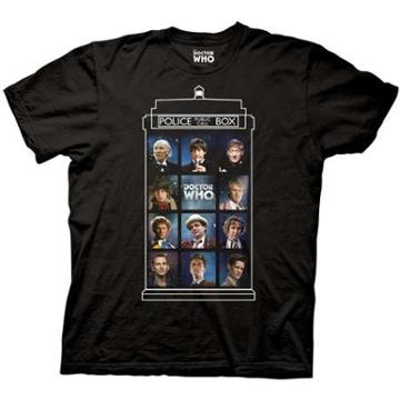Doctor Who 50 Years 11 Doctors Black Adult T-shirt