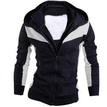 Unique Bargains Mens New Winter Long Sleeve Double Zippers Leisure Hoodie Coat Dark Blue Xs