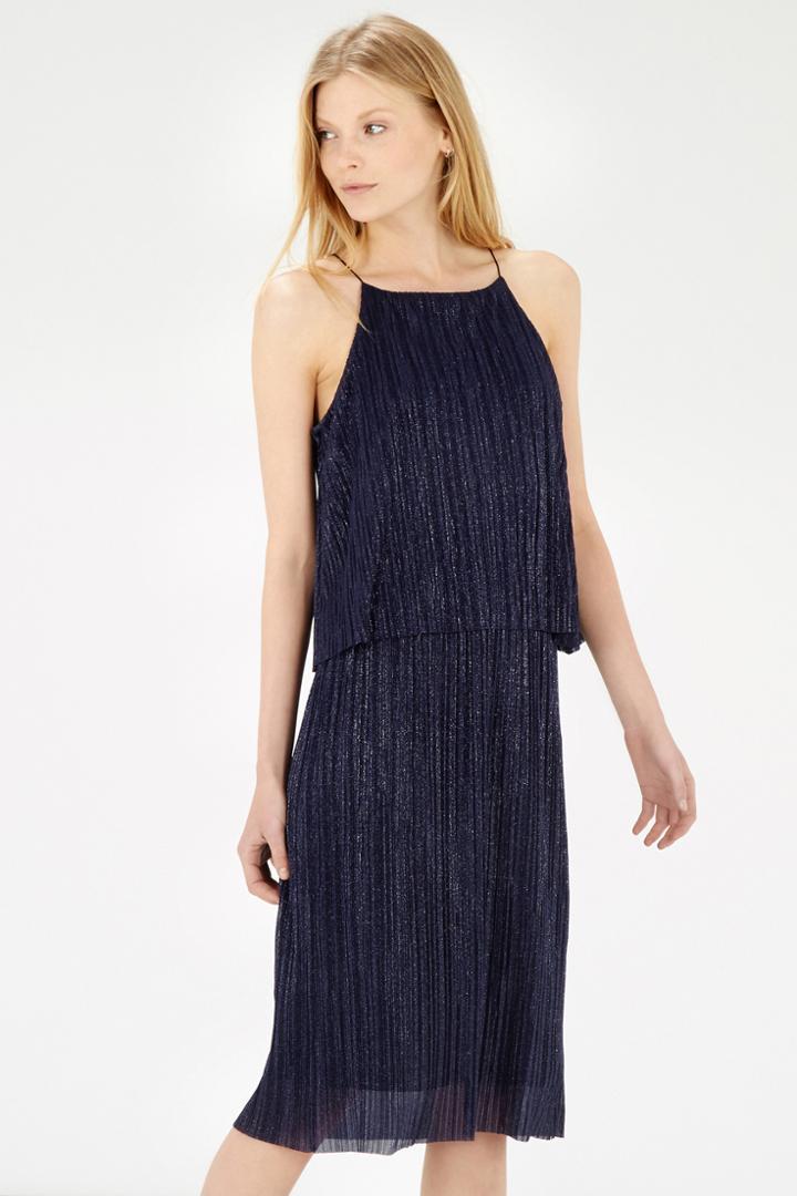 Warehouse Metallic Plisse Dress