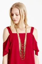 Warehouse Layered Bead Chain Necklace