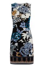 Warehouse Blue Floral Border Shift Dress