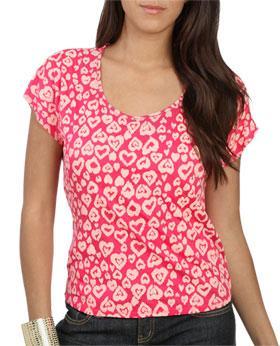 Wetseal Heart Print Zipper Tee Pink -size M