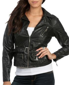 Wetseal Belted Leatherette Jacket Black -size M
