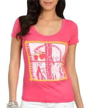 WetSeal Film Negative Fashion Tee Pink -size S