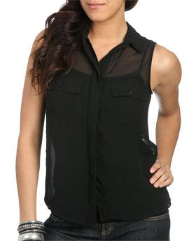 WetSeal Slit Back Sheer Blouse Black -size XS