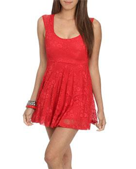 Wetseal Open Back Lace Skater Dress Red -size Xs